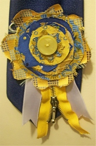 Yellow and Cobalt button rosette