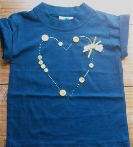 Bubbles button heart shirt