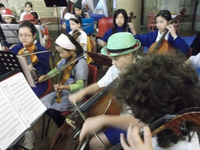 9 year old and the school orchestra.