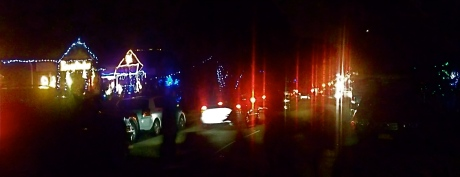 Red tail-lights in the local Christmas Light traffic jam.
