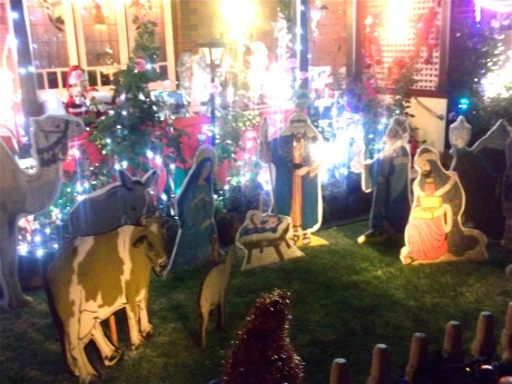 Pleasantly surprised by the number of nativities! The Salvo's playing carols in a front yard, kids busking for charity.....even an ice-cream van!