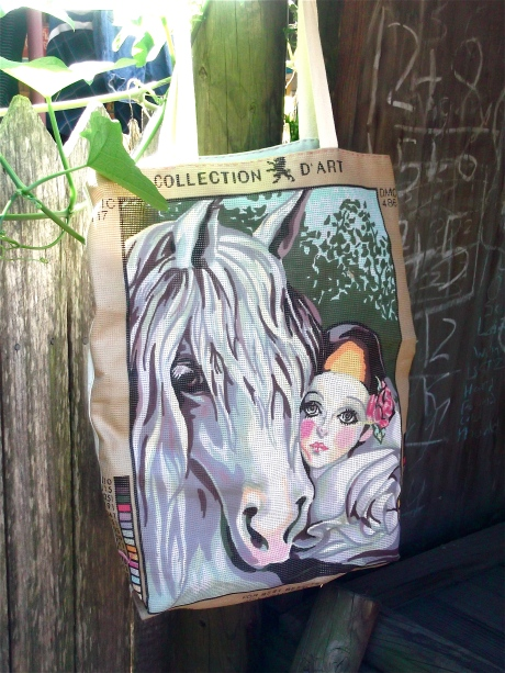 Reclaimed Pierrot and Horse printed canvas bag.