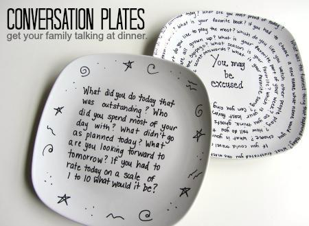 """Conversation Plates"" by Together Counts Blog. Idea and image sourced there."